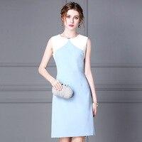 Women dress Slim Summer dress sleeveless High waist O Neck Straight dress Women CYM016