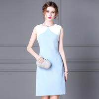 Women dress Slim Summer dress sleeveless High waist O Neck Straight dress Women CYM016