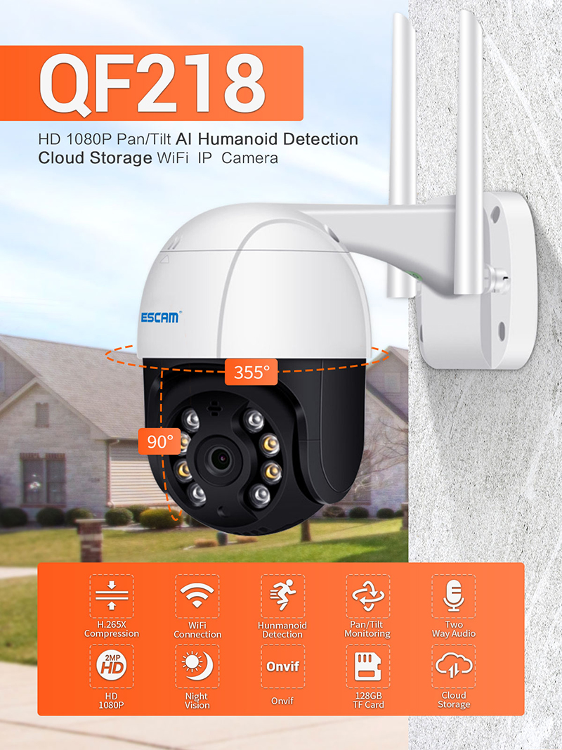 QF218 1080P AI Humanoiden erkennung Pan/Tilt Wasserdichte WiFi Cloud Speicher IP Kamera mit Zwei-wege Audio Kamera