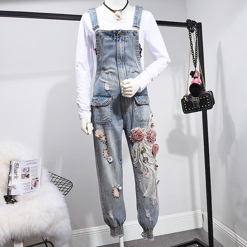 Factory New Design One Piece Trousers Jeans Denim 3D flowers sequin beadings ripped embroidery Jumpsuit overalls Women Suppliers(China)