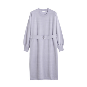Image 5 - INMAN Spring Autumn O neck Drop shoulder Sleeve Solid Loose Casual With Belt Women Jersey Dress