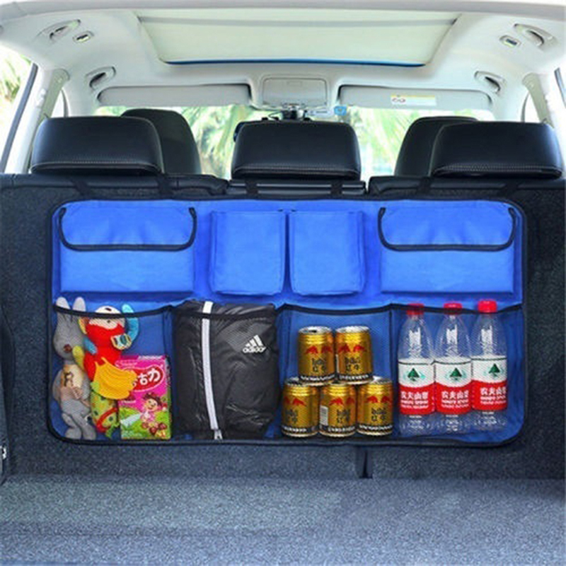Oxford Cloth Car Trunk Organizer Water Bottle Storage Bag Mesh Nets Double Thickening Universal Size Back Seat Hanging Pocket