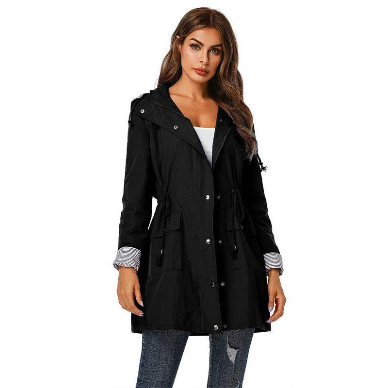 Fashion 2019 Autumn Women Long Sleeve Hooded Coat Ladies Solid Color Windbreaker Coat Outdoor Casual Drawstring   Trench   Coats