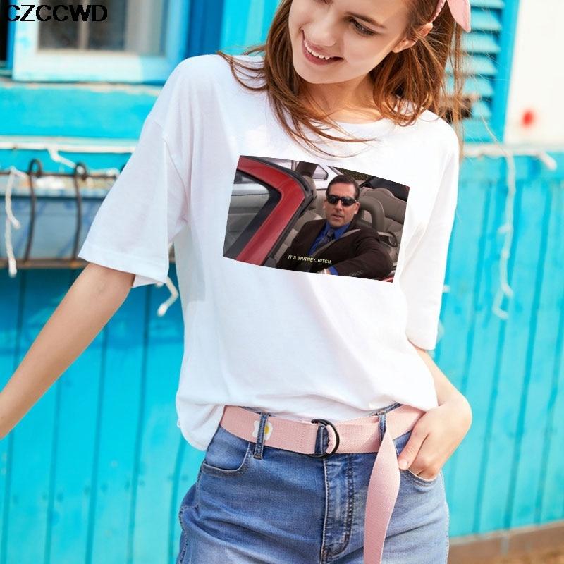 Poleras Mujer De Moda Streetwear White T Shirt Harajuku Letter It S Britney Bitch Funny Tshirt Leisure Fashion T-shirt Women Top