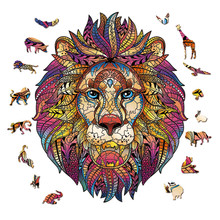High Quality Wooden Puzzles Jigsaw For Adult Unique Shape Animal Lion Fox Owl 3D Puzzle For Kids Fabulous Interactive Gifts