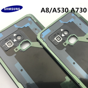Image 5 - Orijinal yeni SAMSUNG Galaxy A8 A530 A530F A8 + artı A730 arka cam pil kapağı arka kapı konut Case arka cam kapak
