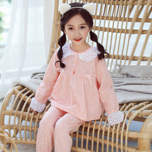 New Kids Pajamas Set Linen Baby Girl Flower Printing