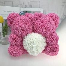40 cm amor coração rosa urso artificial flores sabão espuma rosa flor panda presentes de natal para presente do dia dos namorados feminino