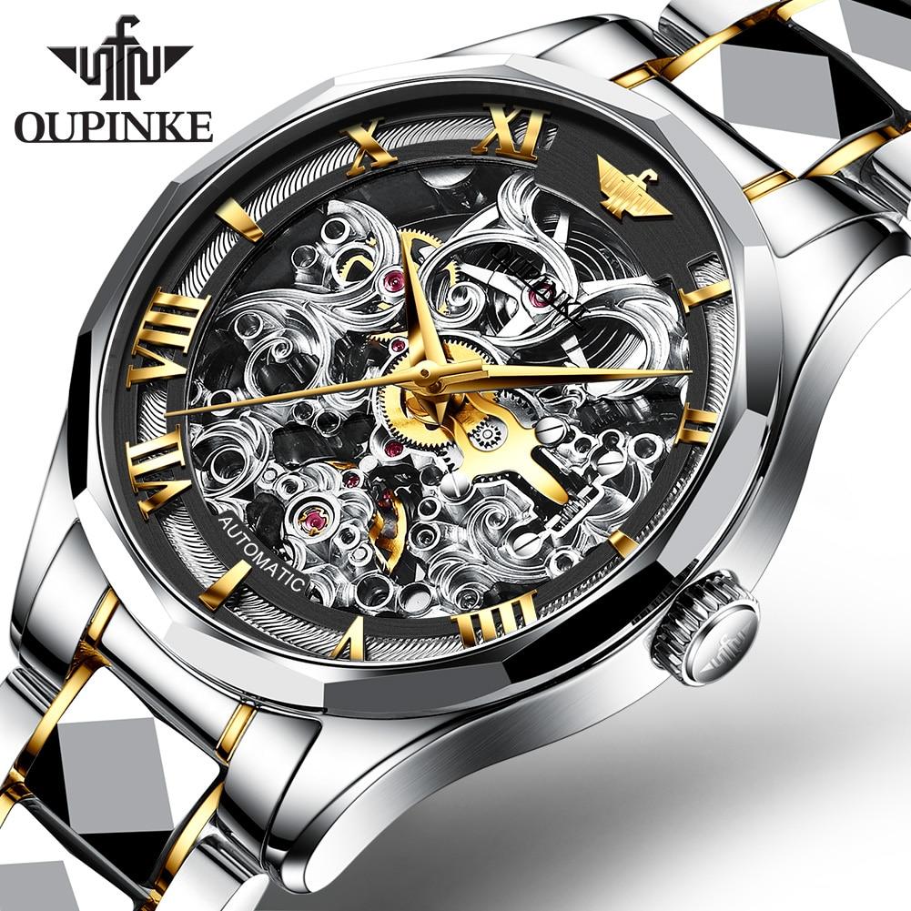 OUPINKE Transparent Fashion Luminous Gear Movement Royal Design Men Top Brand Luxury Male Mechanical Skeleton Wrist Watch