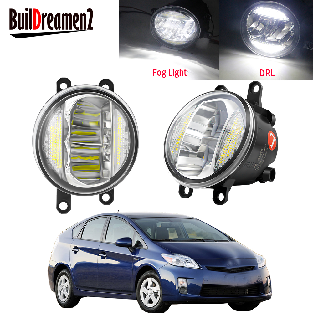 2in1 araba sol + sağ LED sis işık meclisi DRL gündüz koşu lambası 30W 8000LM 12V Toyota için prius 2009 2010 2011 2012