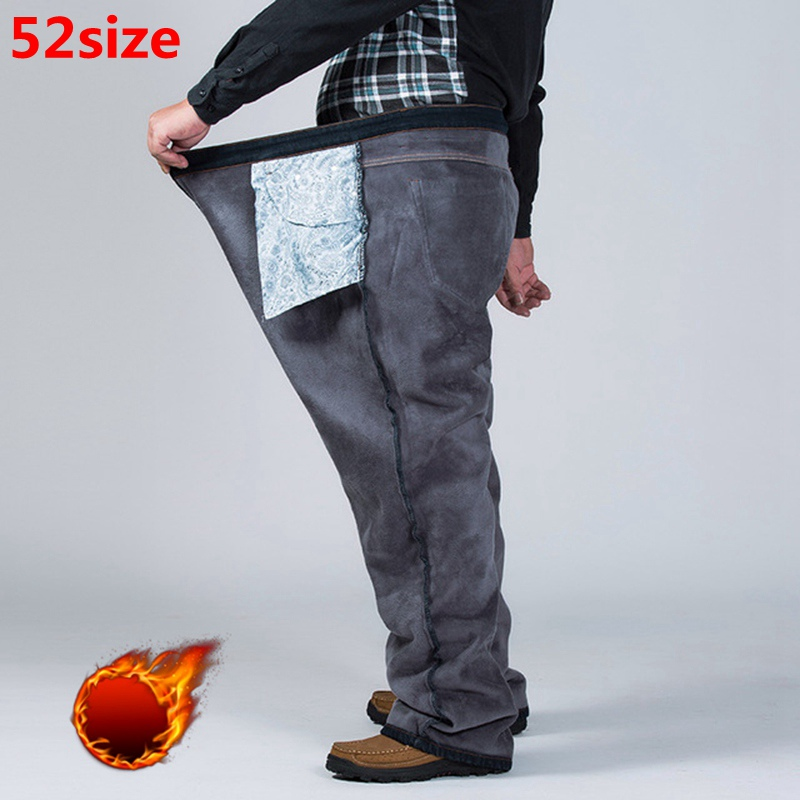 Winter Plus Size Plus Velvet Thick Jeans Men Fat People Loose Increase Big Size Warm Pants 52 50 48 High Waist Male Large Size
