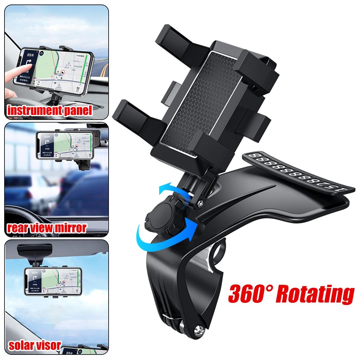 Car Multifunctional Mobile Phone Bracket 360 Degree Sun Visor Mirror Dashboard Mount GPS Stand Phone Holder With Parking Card 1