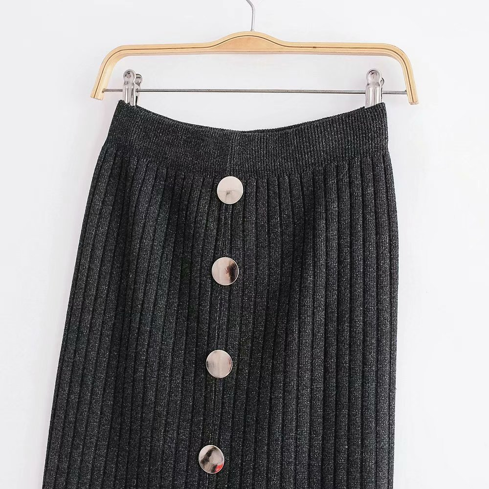 Knitted Skirt Women's Autumn And Winter Korean-style Slim Fit Slimming Skirt Mid-length Slit Step Wool Skirt