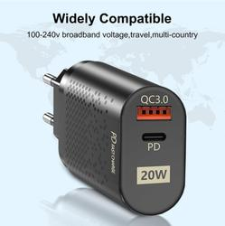 PD20W Quick Charge 3.0 USB Charger EU UK US Wall Mobile Phone Charger Adapter For iPhone12 Dual Port Charger PD Travel Charger