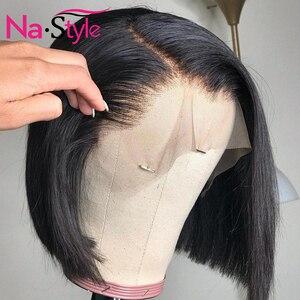 Image 3 - Peluca de corte Pixie Bob con encaje frontal pelucas de cabello humano prearrancado 6x6 cierre peluca 13x4 recta Bob pelucas de cabello humano corto pelucas de cabello humano 130 Remy