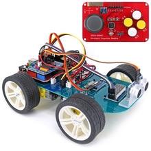 Купить с кэшбэком 4WD Wireless JoyStick Remote Control Rubber Wheel Gear Motor Smart Car Kit w/ Tutorial for Arduino UNO R3 Nano Mega2560