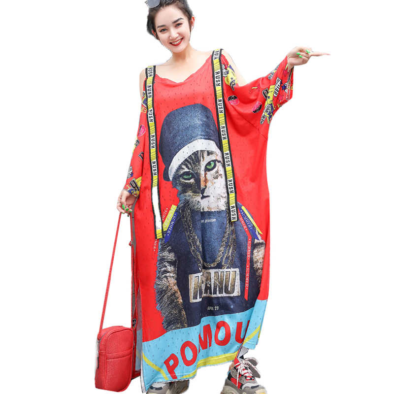 QING MO Blue Red Women Cartoon Cat Print Dress Women Summer Off Shoulder Dress Women Letter Ribbon Dress Fork ZQY620