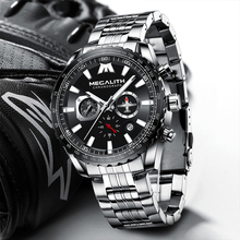 Megalith Mannen Sport Horloges Luxe Volledige Stalen Band Waterdicht Quartz Horloges Mannen Vliegtuigen Pointer Klok Reloj Hombre 8212