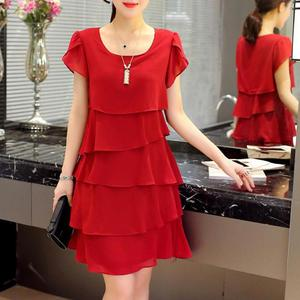 47-100kg Can Wear 5xl Casual Knee-length A-line Chiffon Wine Red Black Pink Summer Plus Size Cocktail Dresses Women Party Dress