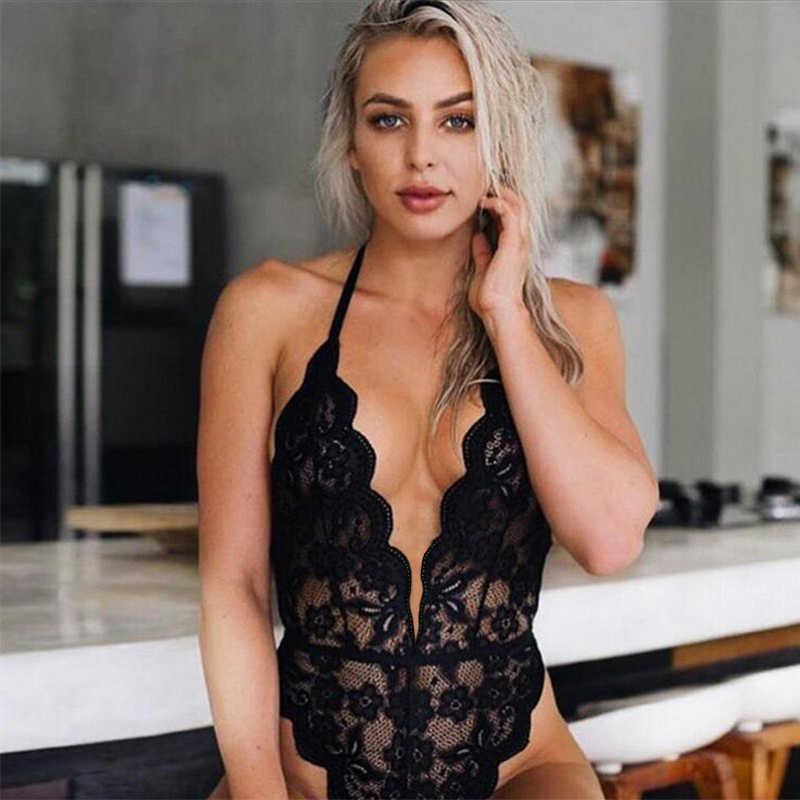 새로운 3 색 섹시 할로우 란제리 여성 브래지어 세트 레이스 딥 v 뜨거운 에로 섹시한 속옷 홀터 오픈 원피스 원근법 란제리