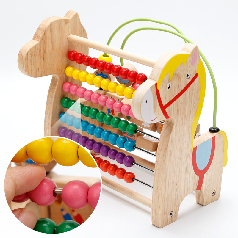 Wooden Toys Multi-functional Flipping My Little Color Beads Calculation Frame Toy