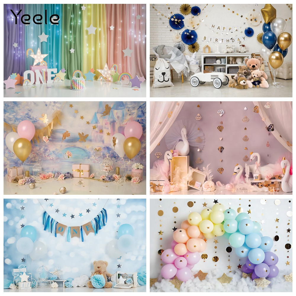 Yeele Newborn Baby 1st Birthday Balloons Cake smash Party Photography Backdrops Photographic Backgrounds For Photos Studio