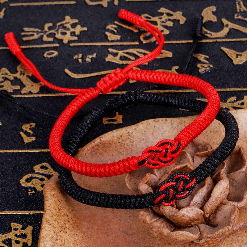 Tibetan Buddhist Handmade Knots Lucky Rope Bracelet Chinese Knot Red Rope Bracelet Size Adjustable