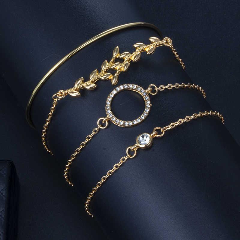 Tocona Elegance Bangle Gelang untuk Wanita Perhiasan Emas Warna Perak Geometris Berkilau Daun Kristal Batu Hewan Terbuka BoHo Perhiasan