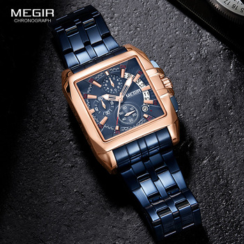 MEGIR New Men's Watch Top Brand Stainless Steel Waterproof Luminous Quartz Watch Men's Fashion Chronograph Men's Sports Watch