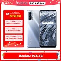 Oprogramowanie sprzętowe na cały świat Realme V15 telefon komórkowy 5G 6.4 cal AMOLED Dimensity 800U Octa Core na ekranie 50W ładowarkę Flash Google Play