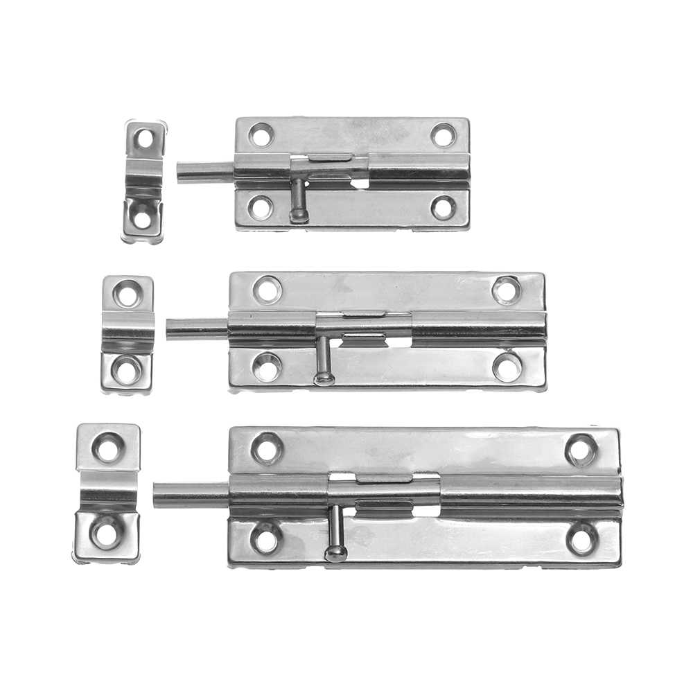 1Pc New 3/4/5 Inch Long Silver Stainless Steel Door Latch Sliding Lock Barrel Bolt Latch Hasp Staple Gate Safety Lock Fittings