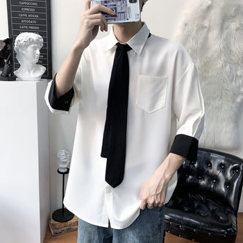 Tie Dress Shirt Men's Fashion Solid Color Business Casual Shirt Men Streetwear Wild Loose Korean Short Sleeve Shirt Mens S-2XL short sleeve self tie dolman dress