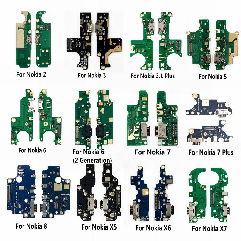 USB Charging Port Dock Jack Socket Connector Charge Board Flex Cable With Microphone For Nokia 3 2 5 6 7 Plus 7Plus 8 X5 X6 X7