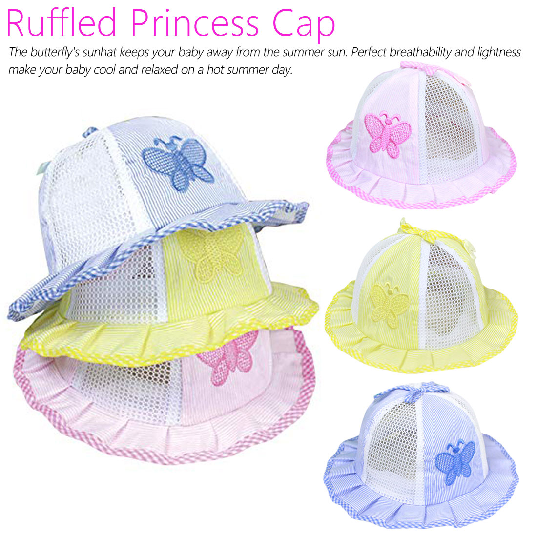 Baby Bonnet Summer Hat Newborn Princess Girls Hat Sun NET Cap Butterfly Bucket Boys Hat Panama Bonnet Toddler Enfant 0 1Years in Hats Caps from Mother Kids