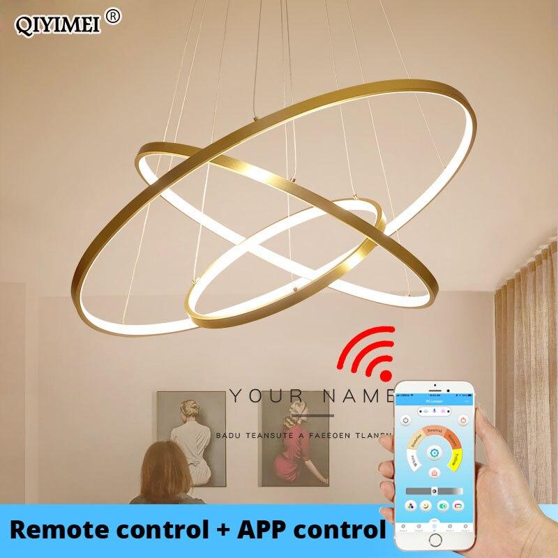 מודרני LED תליון אורות סלון אוכל חדר לבן זהב קפה שחור מעגל טבעות אלומיניום גוף מנורת גופי בית מנורה