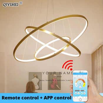Pendentif LED moderne lumières pour salon salle à manger blanc doré café noir cercle anneaux en aluminium corps lampe luminaires maison lampe