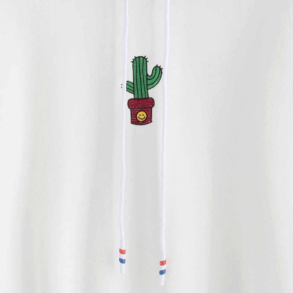 여성 인과 스웨터 여성 긴 소매 선인장 인쇄 까마귀 스웨터 후드 풀오버 탑스 블라우스 dropshipping ropa mujer