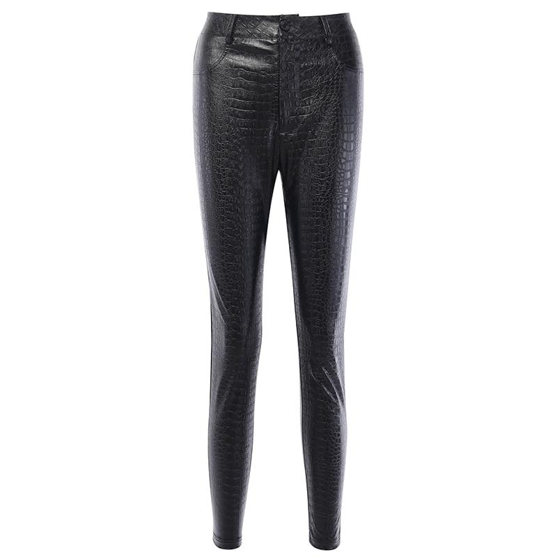InstaHot Black High Waist Pencil Faux Leather Pants Women Casual Elegant Carving Print Ankle Length Pants Streetwear Trousers 77