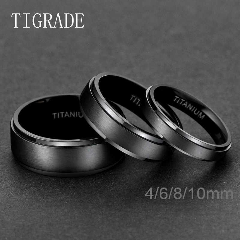 TIGRADE Titanium Rings 4MM 6MM 8MM 10MM Wedding Band in Comfort Fit Matte for Men Women