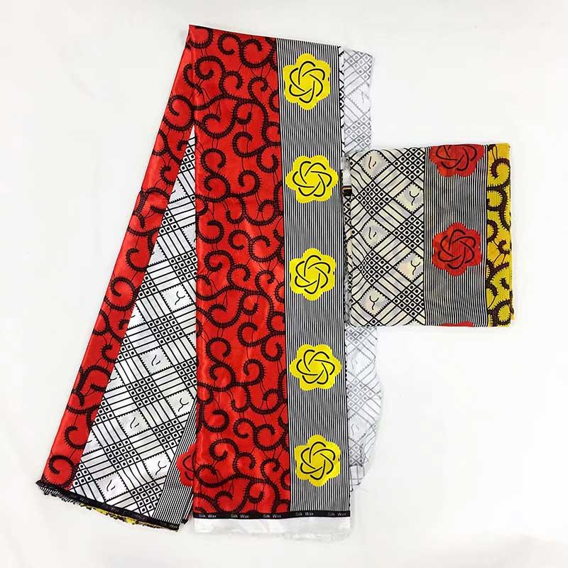 Tissu en soie Pure tissu en mousseline de soie africaine cire de soie 5 + 2yards tissu africain dubai dentelle tissu de cire africaine pour patchwork! MS02
