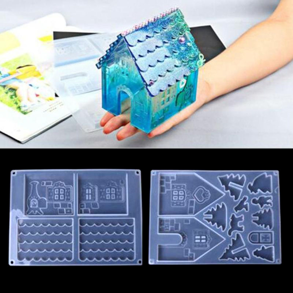 1pc Big Size Christmas House Castle Silicone Mould Epoxy Resin Mold Poxy Resin Jewelry Making Tool Set Epoxy Silicone Mold
