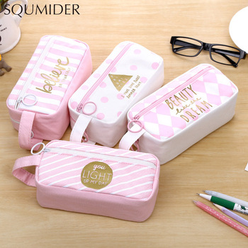 Pink canvas pencil case large capacity Kawaii pen case for girls school Pencil cases student stationery box cute Storage bag bag zipper pencil case twill canvas large pen box pencil bag for student school stationery supplies