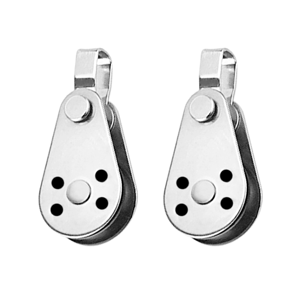 2pcs Single Pulley Block 316 Stainless Steel Heavy Duty Hardware For Kayak Boat Dock Wire Rope Anchor Trolley Kit (Type A)