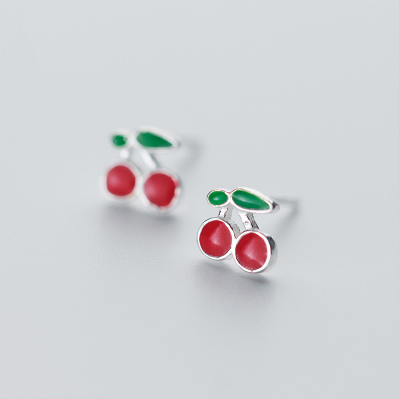 Red gem cherries earring studs 925 sterling silver fashion woman/'s girls