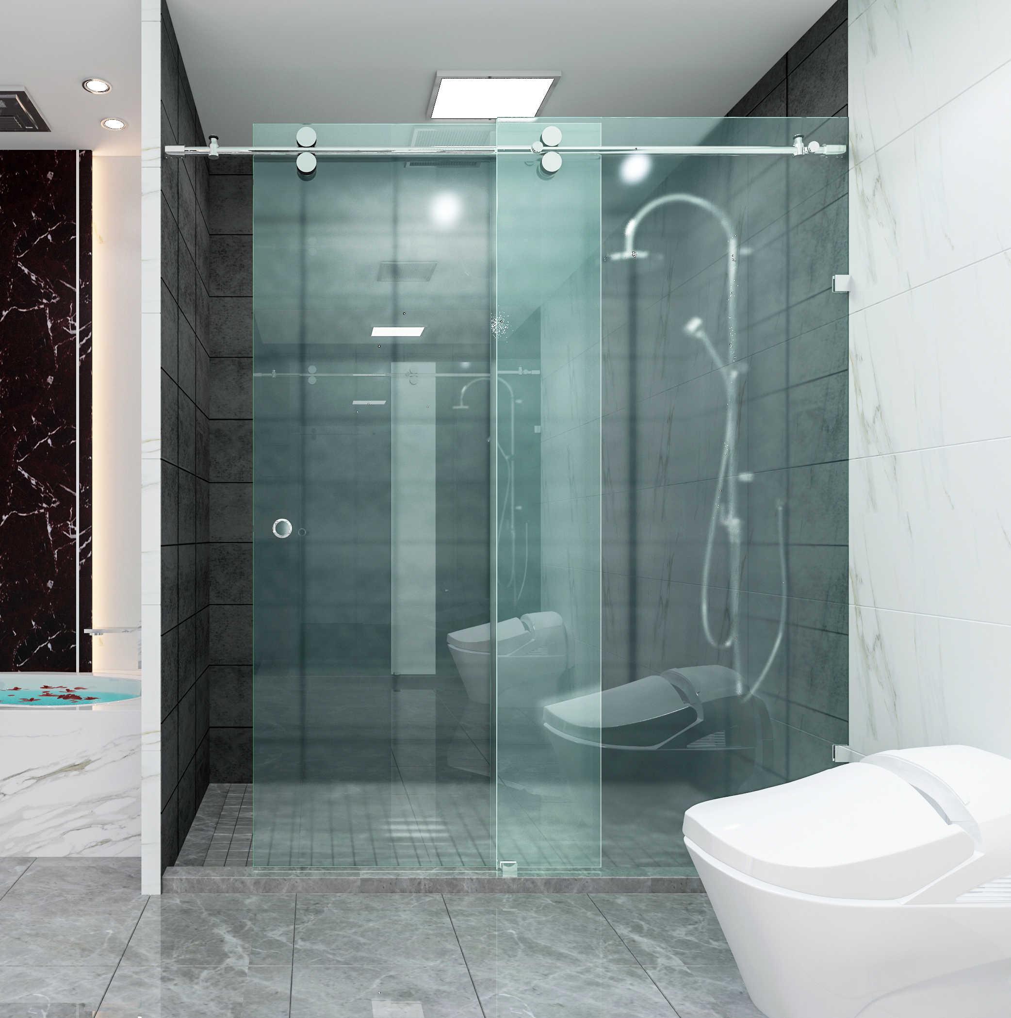 Diyhd 152cm 200cm Stainless Steel Shower Door Sliding Rail Hardware Frameless Sliding Shower Door Glass Door Hardware