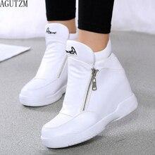 Hiver fourrure baskets plate forme femme chaussures 2020 automne haut femme chaussures décontractées cale côté fermeture éclair mode chaud neige botte V671