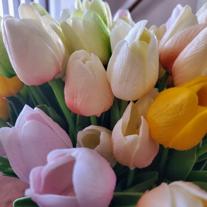10 шт. красивые тюльпаны Флорес Искусственные цветы Tulipany тюльпаны поддельные цветы рождественские украшения для дома свадебный Декор 35 см