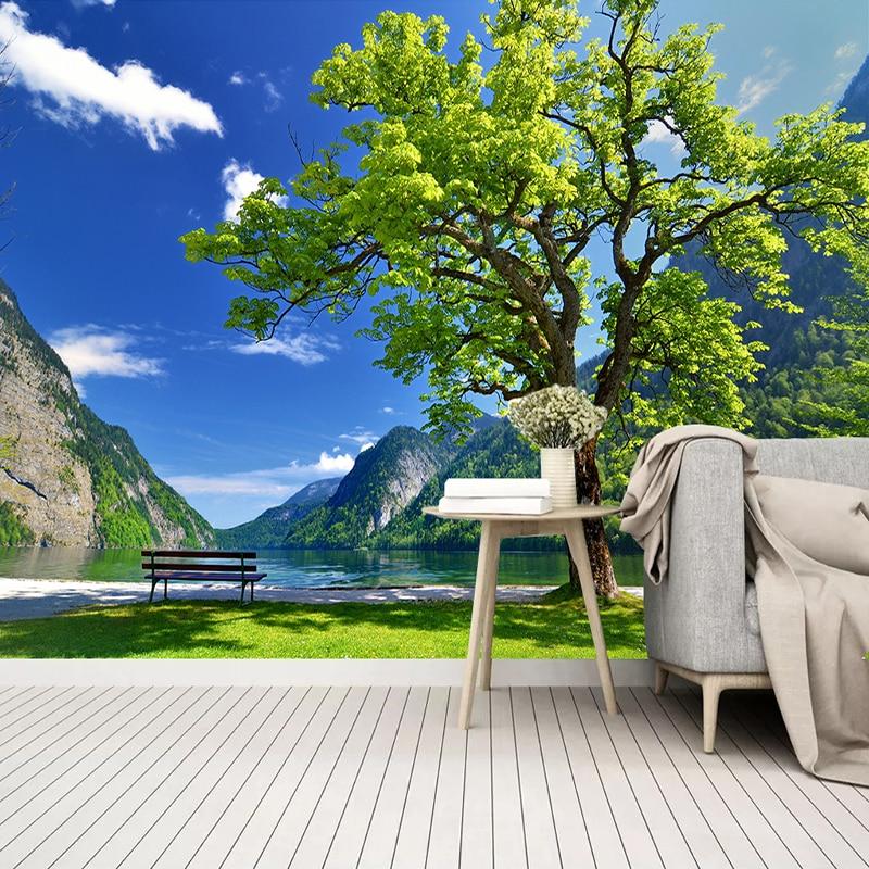 Пользовательские 3D фото обои зеленые горы дерево природный пейзаж большая роспись Кабинет гостиная спальня настенное украшение живопись