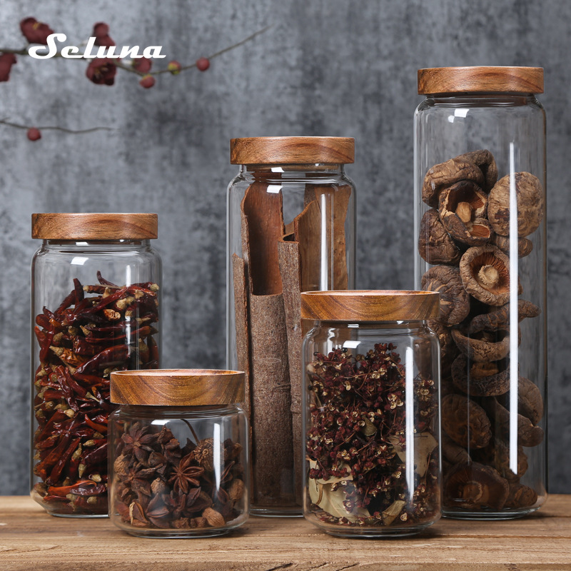 Wood Lid Glass Airtight Canister Kitchen Storage Bottles Jars Food Container Grains Tea Coffee Beans Grains Candy Jar Containers