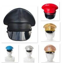 Sombrero militar de cuero PU para espectáculo de escenario, gorra de capitán para club nocturno, Protector de seguridad, unisex